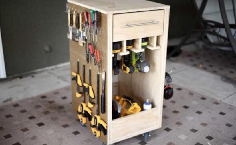Mobile Tool Cart with Pegboard