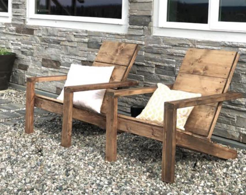 Free plans to build a 2 x 4 Adirondack Chair.