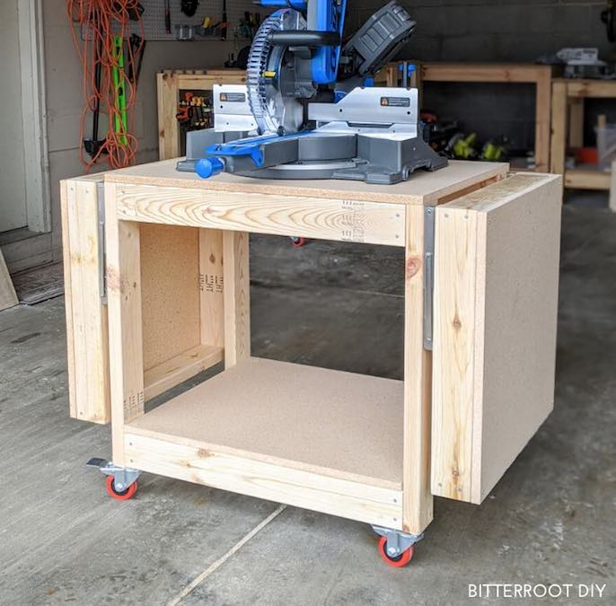 Build a Mobile Miter Saw Stand with free plans.
