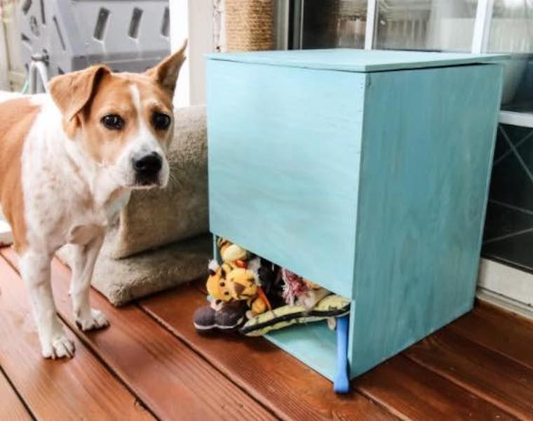 Build a Dog Toy Storage Bin with free plans.