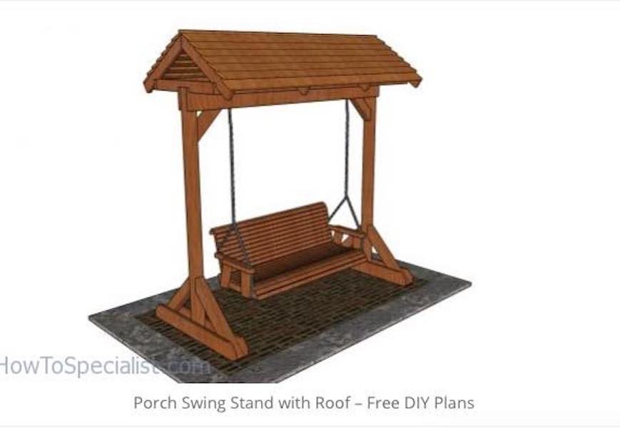 Free plans to build a Porch Swing Stand With Roof.
