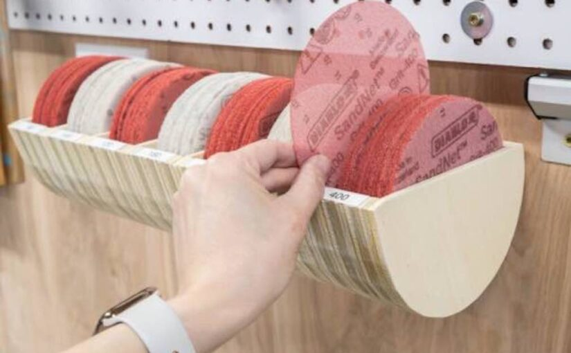 Build a Sanding Disc Storage Organizer with free plans.