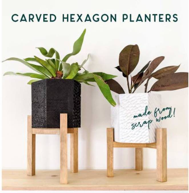Build a Carved Hexagon Planter with free plans.