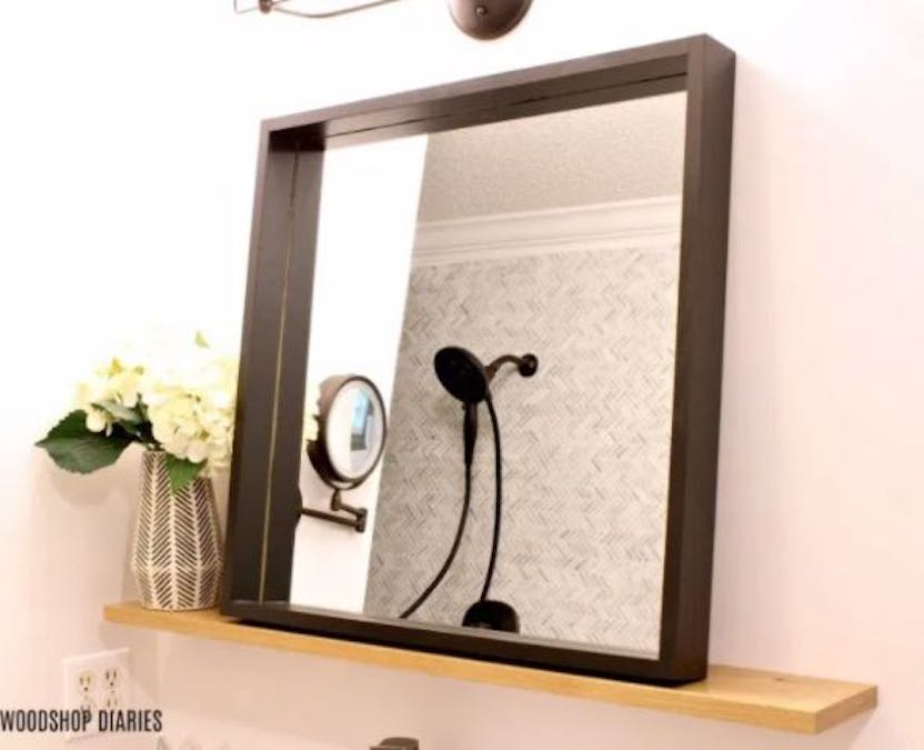 Build a Bathroom Floating Mirror Shelf with free plans.