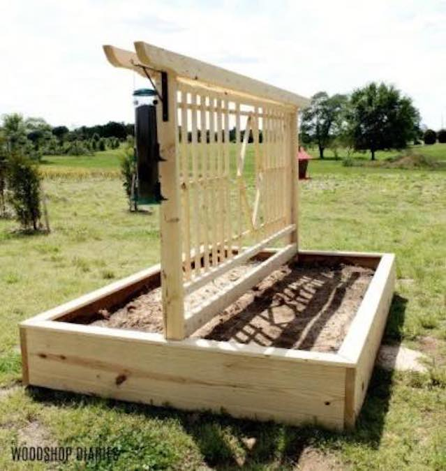 Build a Garden Bed with Trellis with free plans.