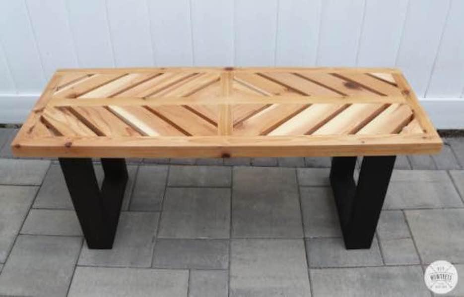 Build a Chevron Cedar Bench with free plans.