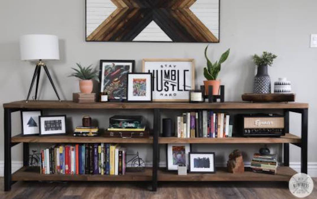 Free plans to build a Wood and Metal Bookshelf.