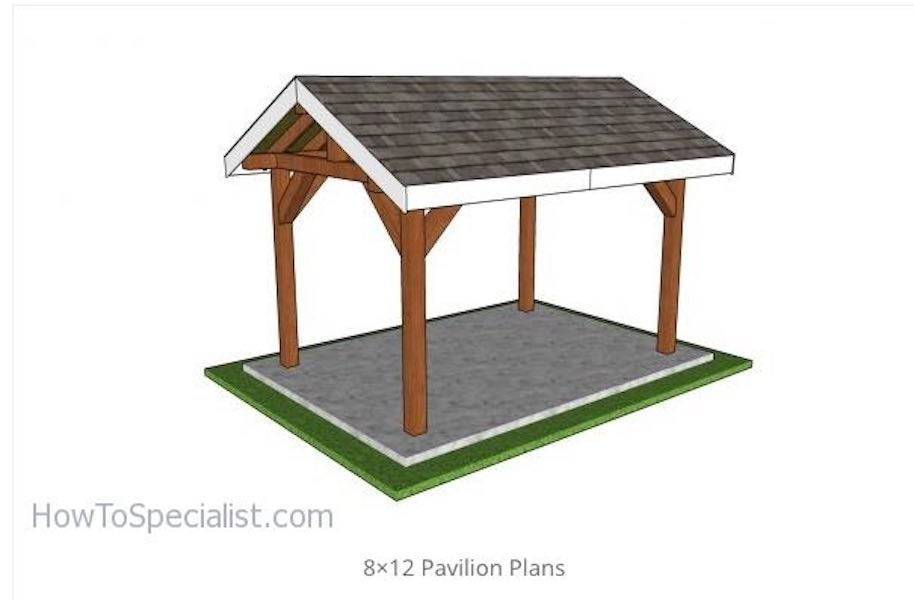 Build a backyard pavilion with a gable roof with free plans.