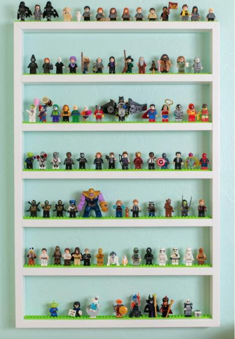 Free plans to build Lego Display Shelves.