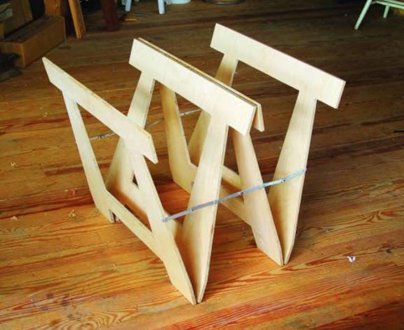 Free plans to build a Butterfly Sawhorse.