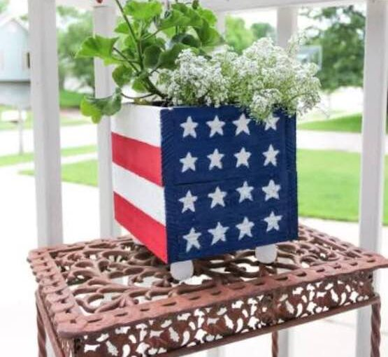 American Flag Planter Box