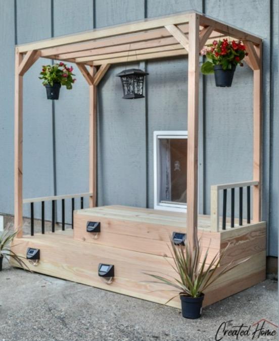 Free plans to build a Doggie Door Deck.