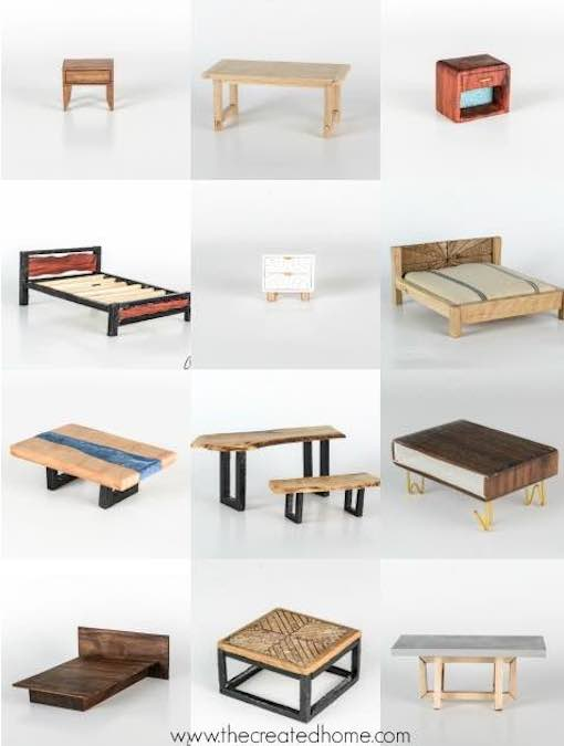 Build Modern Dollhouse Furniture with free plans.