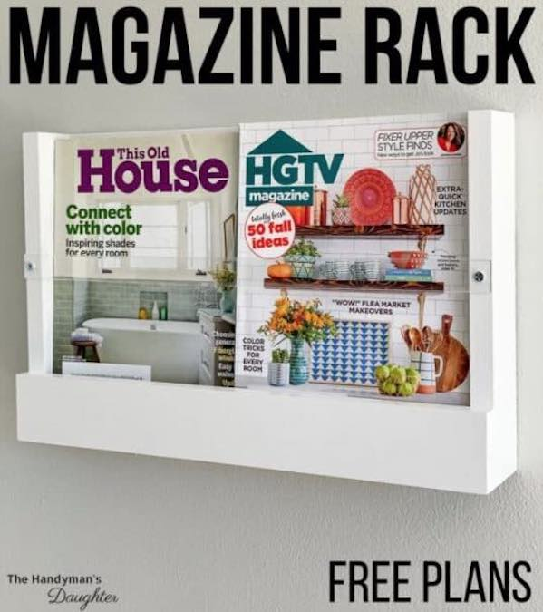 Free plans to build a wall mounted Magazine Rack.