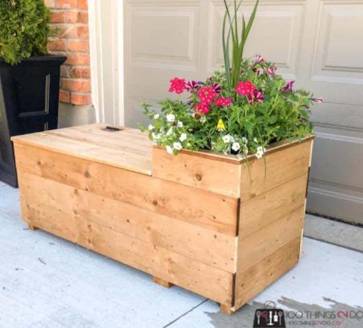 Build a Porch Planter Bench with free plans.