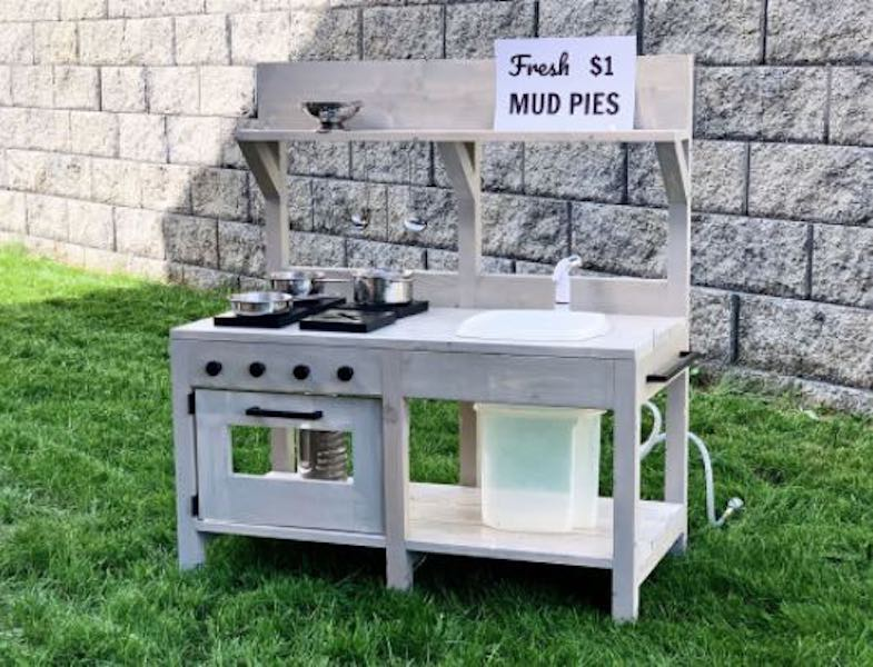 Build a Play Kitchen with Sink using free plans.