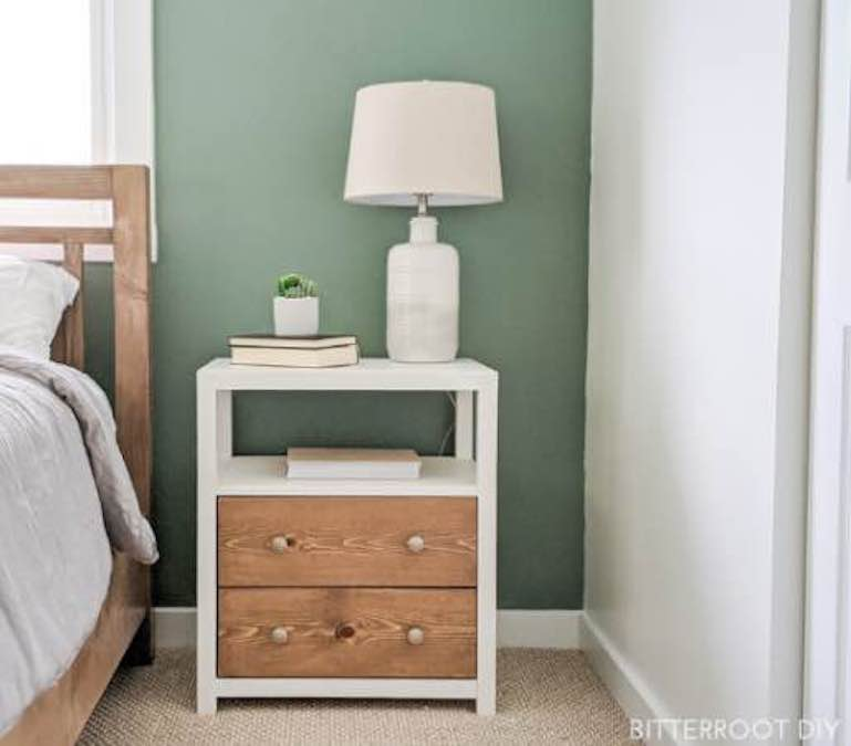 Build a Modern Farmhouse Nightstand using free plans.