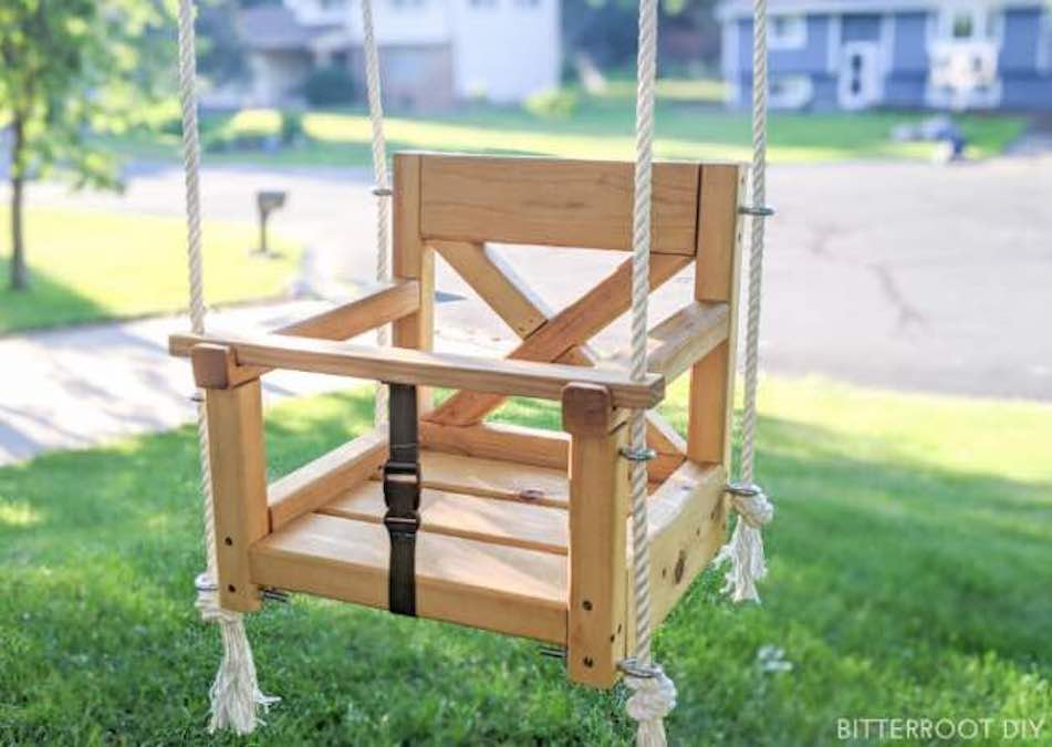Free plans to build an Outdoor Baby Swing.