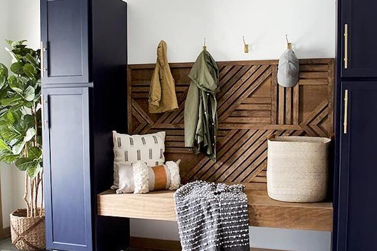 Build a Wood Feature Wall with Floating Bench.