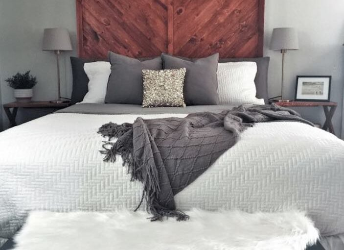 Build your own Reclaimed Wood Headboard with free plans.