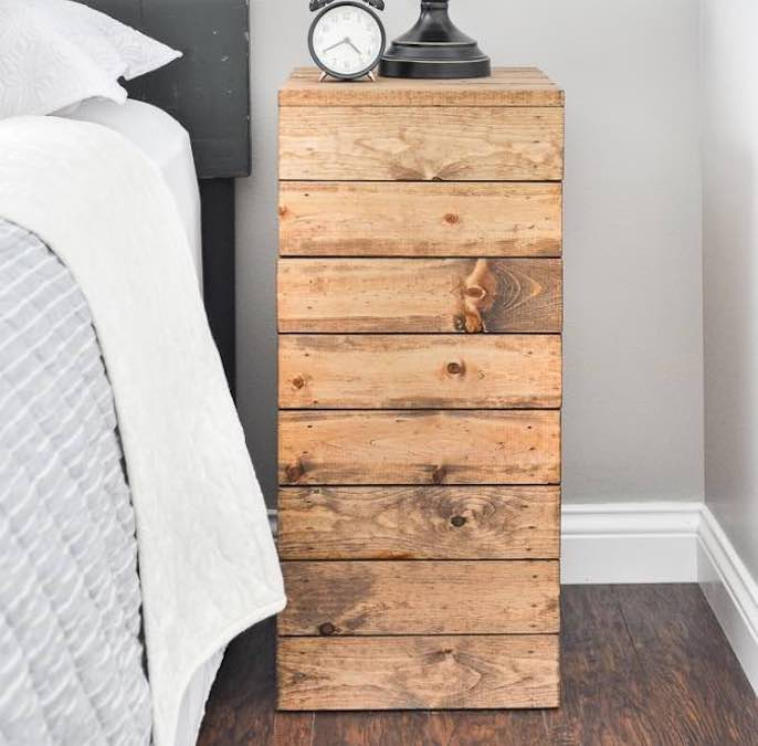 Free plans to build a Wood Planked Nightstand.