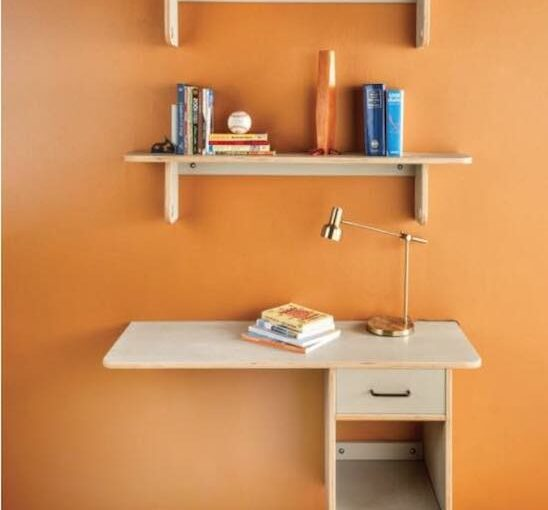 Free plans to build Plywood Desk and Shelves.