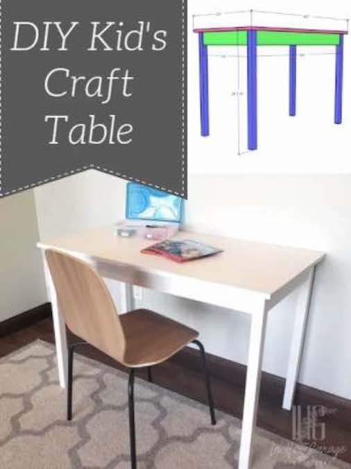 Free plans to build a Kids Craft Table.