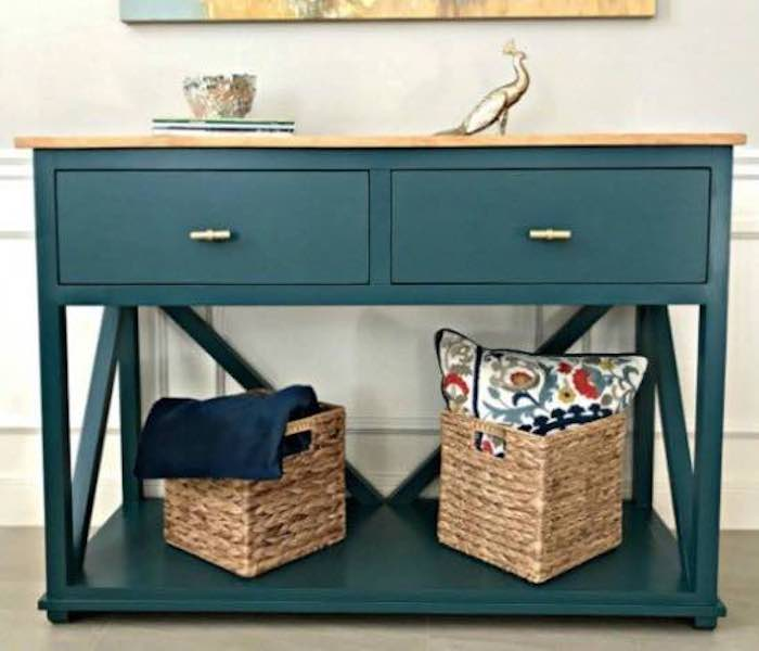 Build a Farmhouse Console Table With Drawers using free plans.