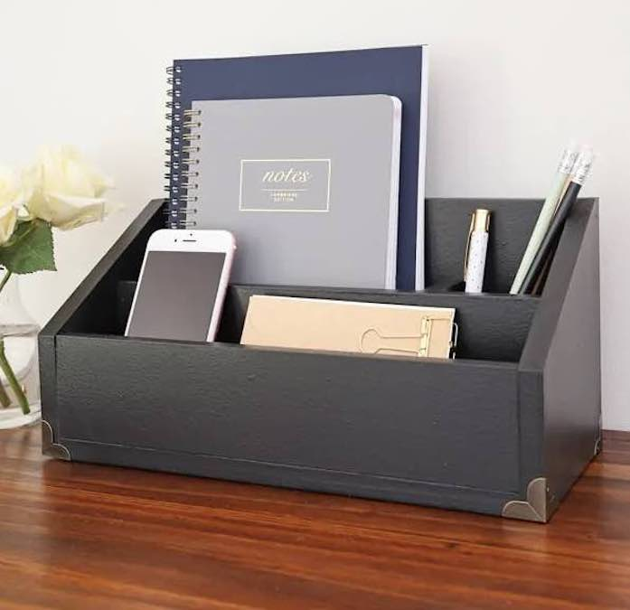Free plans to build a desk organizer.