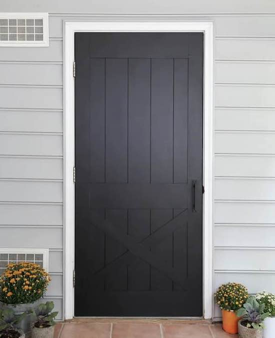 Free plans to build a Faux Barn Door.