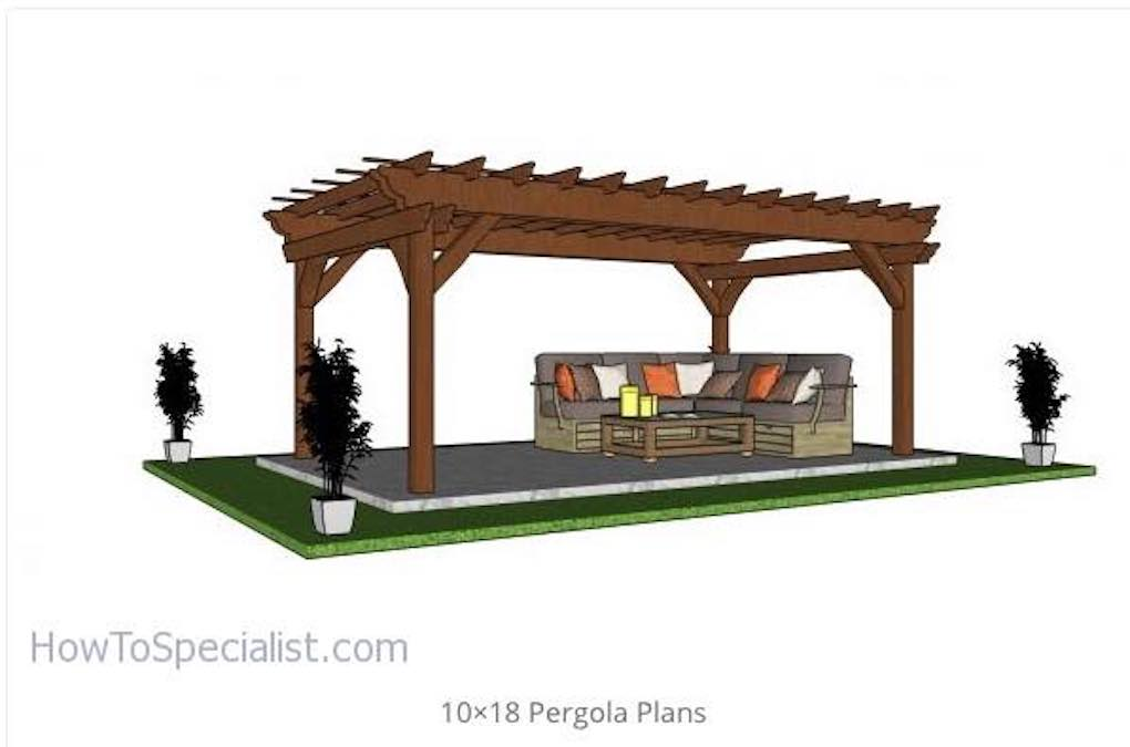 Build a Free Standing Pergola 10 x 18 feet with free plans.