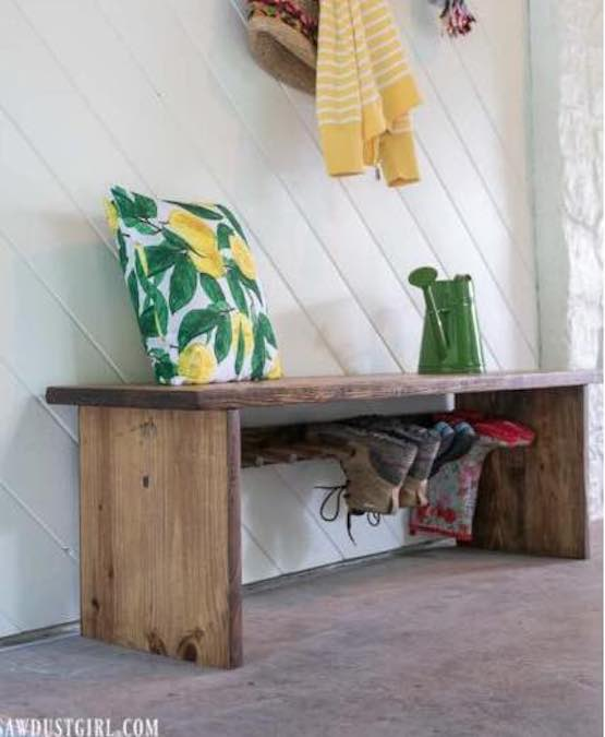Build a Bench With Built In Boot Rack using free plans.