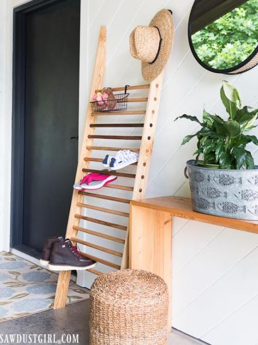 Build a Shoe And Boot Storage Ladder using free plans.