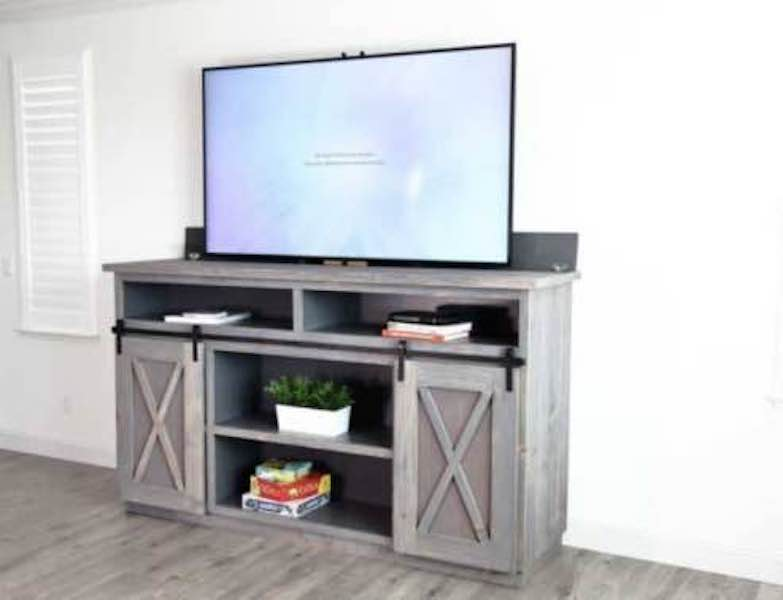 Build a Farmhouse Media Console with TV Lift using free plans.