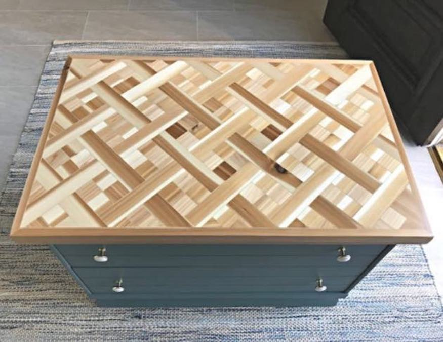 Build a Wood Mosaic Table Top using free plans.