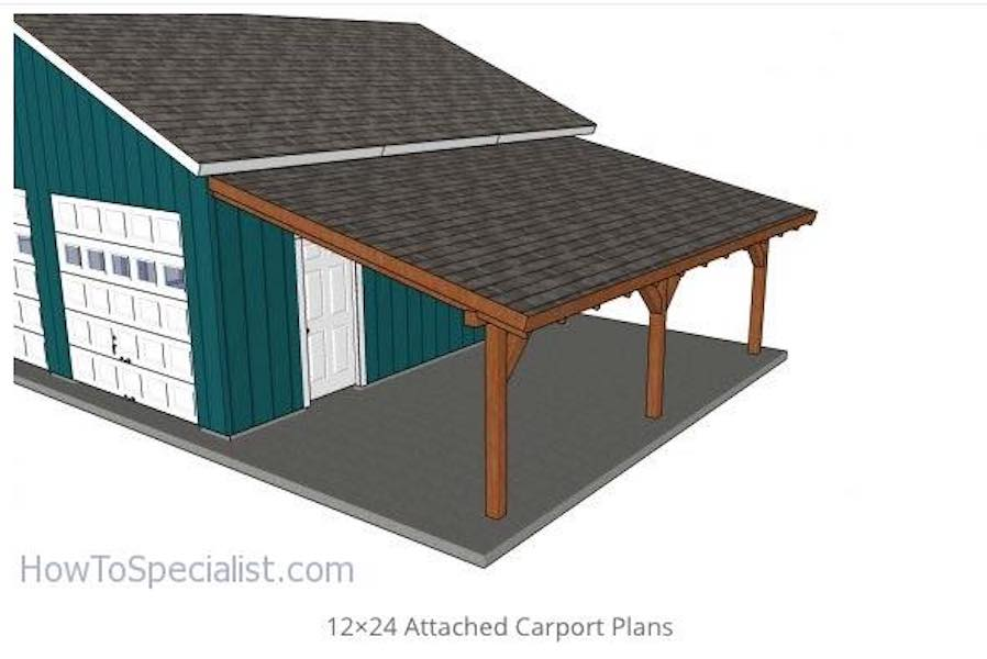 Build an Attached Carport 12 x 24 Feet using free plans.