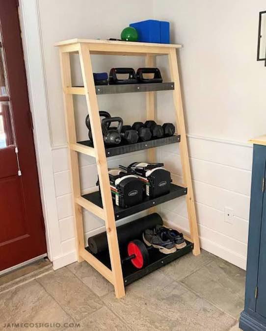 Free plans to build a Weight Storage Shelf.