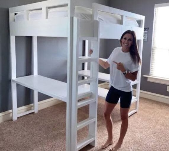 DIY Loft Bed With Desk Underneath