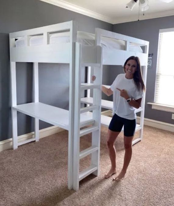 Free plans to DIY Loft Bed With Desk Underneath.