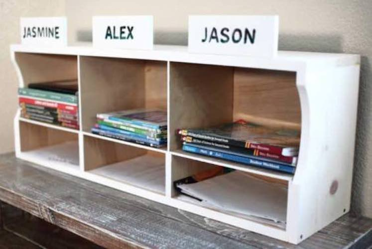 Build a Kids Bookshelf/Homework Station with free plans.