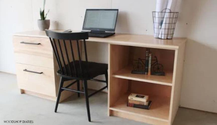 Free plans to build a Filing Cabinet Desk Modular.