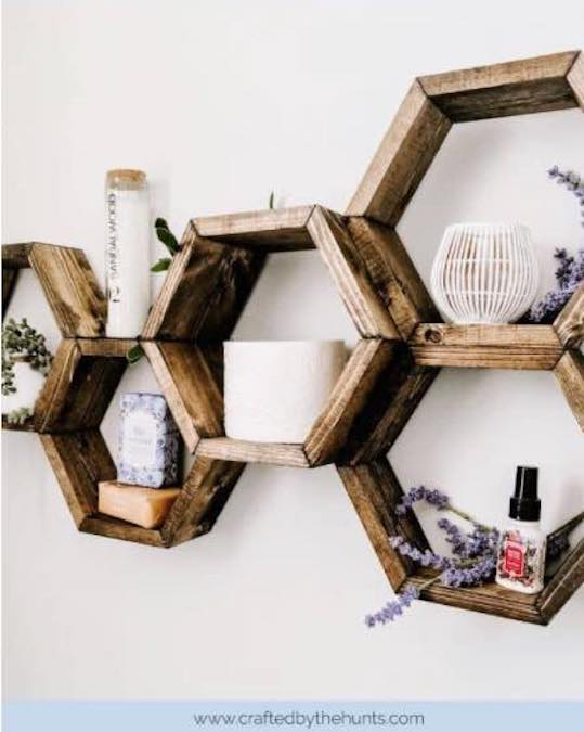 Free plans to build hexagon shelves.