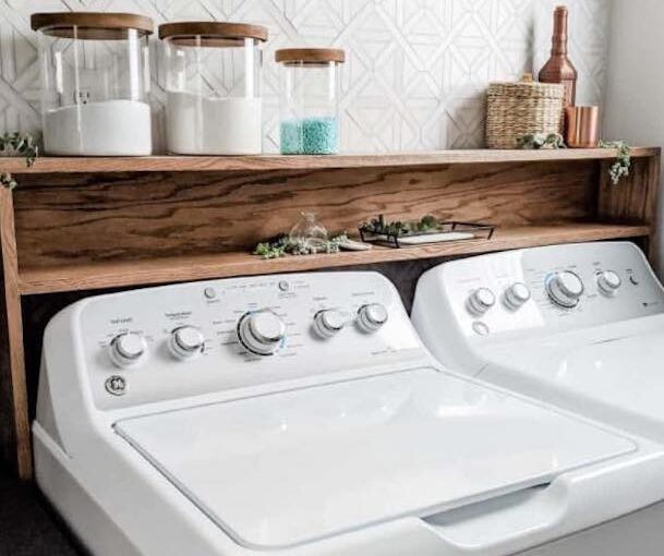 Build a Shelf Over Washer And Dryer using free plans.