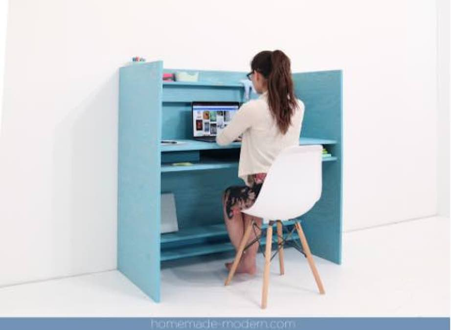Here is an Easy-To-Build Plywood Desk with free plans.