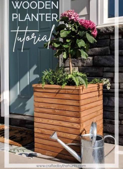 Build a Modern Wood Planter Box using free plans.