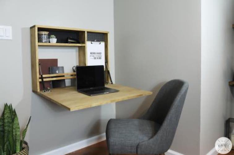Free plans to build a Fold Down Wall Desk.
