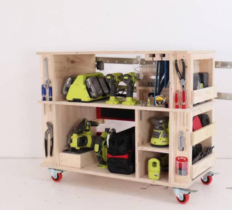 Free plans to build a Workshop Mobile Cart.