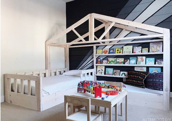 Build a Toddler House Bed using free plans.