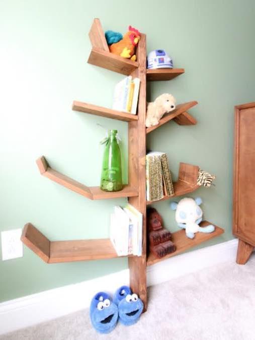 Build A Tree Bookshelf using free plans.