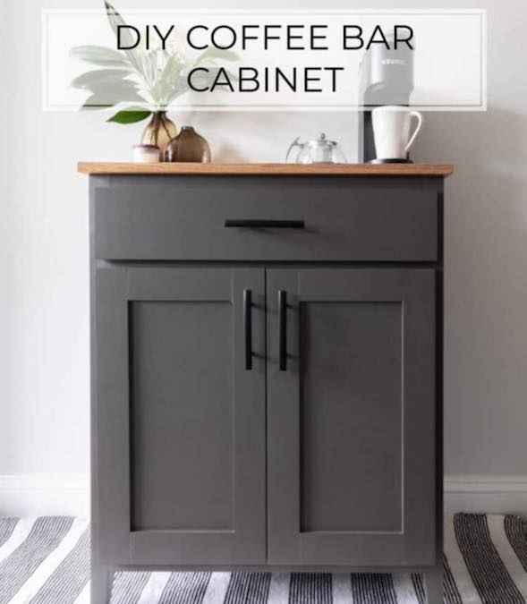 Free plans to build a DIY Coffee Bar Cabinet.